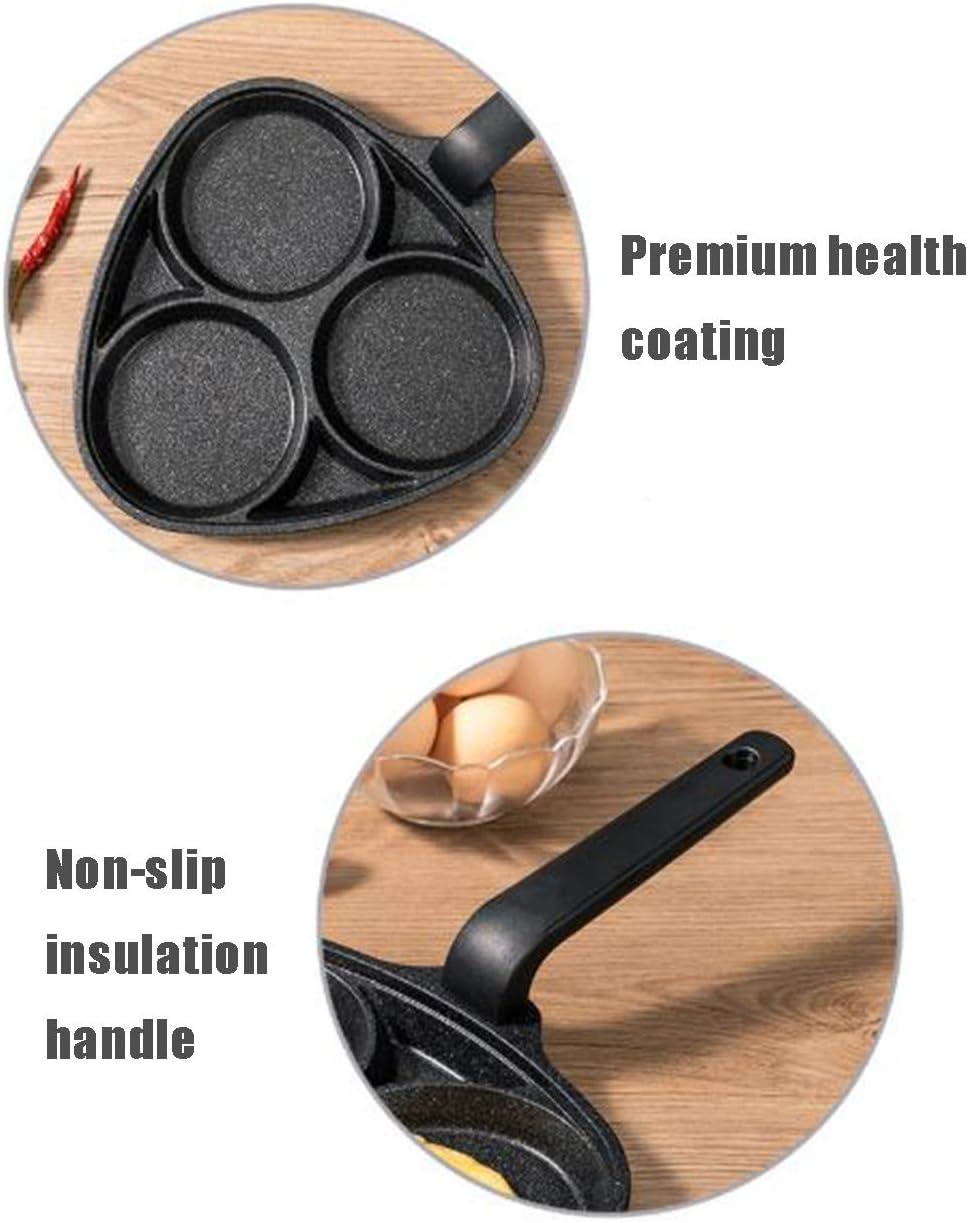 PoêLe à CrêPes PoêLe à Frire Anti AdhéSive pour Oeufs Pancake Steak PoêLe à Petit DéJeuner Alliage Aluminium 3 CavitéS Oeuf Au Plat CuisinièRe Casseroles Gas Model Gas Model