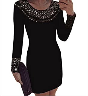 e944dedd948 LEO BON Womens Black Sexy Round Neck Long Sleeve Bodycon Studded Dress