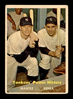 1957 Topps #407 Mickey Mantle/Yogi Berra Yankees Power Hitters VGEX X1743930