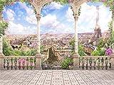 AOFOTO 10x7ft Romantic Eiffel Tower Photography Background Retro Pillar Paris Streetscape Ancient Architecture Balcony Backdrop Aerial City Landscape Fancy Wedding Girl Lover Bride Photo Studio Prop