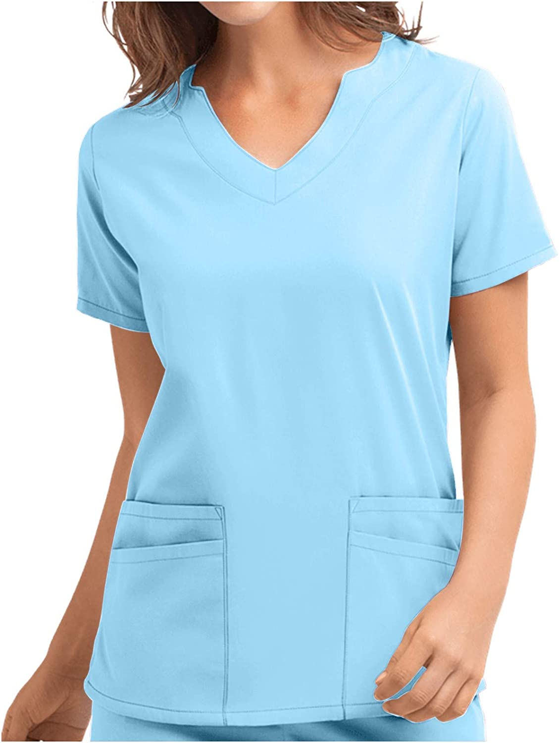 Forwelly Womens Short Sleeve T Shirt Fashion Solid Color V Neck Tee Top Summer Blouse for Work