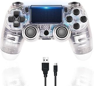 Manette PS4 Manette de Jeu Bluetooth sans Fil pour Playstation 4 avec câble USB Compatible avec Windows PC-Blanc transparent