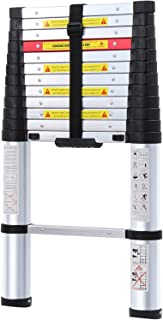 WolfWise 12.5FT EN131 Aluminum Telescopic Extension Ladder - One-Button Retraction System, Upgraded Extendable Telescoping Ladder with Spring Loaded Locking Mechanism Multi-Position (Renewed)