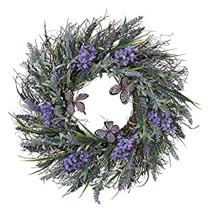 Valery Madelyn 24 inch Artificial Lavender Spring Flower Wreath with Green Leaves ,Floral Door Wreath Flower Arrangements for Front Door,Window,Wall,Home Decor