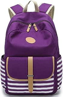 FLYMEI Canvas Backpack, School Backpack 17.7''X13.8''X6.7'' College Bookbag Lightweight Laptop Bag Travel Daypack for Teen Girls Women - Purple