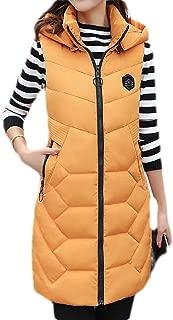 Macondoo Women's Warm Hooded Puffer Vest Winter Quilted Outdoor Down Vest Coat