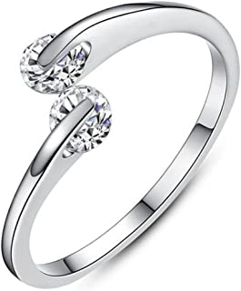 Stainless Steel Thin Stackable Two Stone Wedding Band Wave Ring
