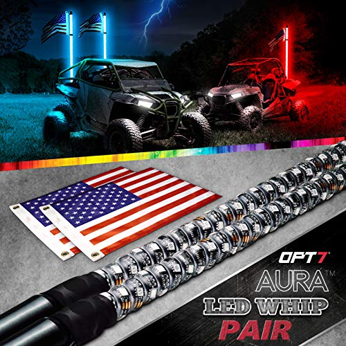 OPT7 Aura 4ft LED Whip Lights Pair for UTV w/RF Wireless Remote, USA Flag, 64+ Multi-Color Patterns - Shatterproof Waterproof Build Accessories for All-Terrain Off Road ATV Polaris RZR 4 Wheeler