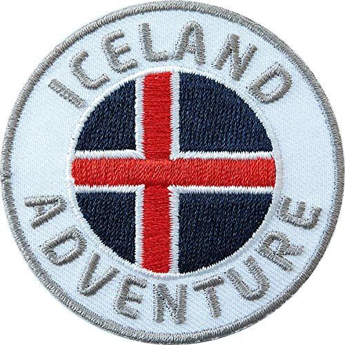 2 x Iceland Abzeichen gestickt 60 mm / Island Abenteuer Outdoor Trekking Wandern Flagge Wappen Skandinavien / Aufnäher Aufbügler Sticker Patch / Reise-Führer Wander-Karte Buch Camping Wohnmobil