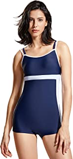 DELIMIRA Women's Boyleg One Piece Swimsuit Slimming Monokini Swimwear