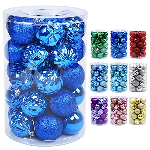 Lulu Home Christmas Ball Ornaments, 34 Ct Xmas Tree Decorations, Holiday Hanging Balls (Blue, 2.36')