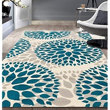 Rugshop Modern Floral Circles Design - Area Rug, 5' X 7', Blue