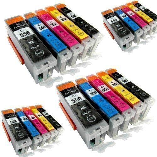 20 Youprint YP-PGI550XL YP-CLI551XL Druckerpatronen MIT CHIP und Füllstandanzeige für Canon Pixma iP7250, MG5550, MG5650, MG6450, MG5450, MG6350, MG 7550, MX725, MX925, kompatibel zu PGI550BK , CLI551C , CLI551M, CLI551Y und CLI551BK