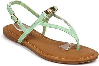 Women Leatherette Twist Lock Slingback Triangle Thong Sandal EF56