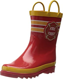 Puddle Play Kids Boys' Fire Chief Printed Waterproof Easy-On Rubber Rain Boots