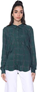 Andiamo Viscose Plaid High Low Front Pocket Shirt for Women