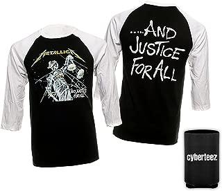 Cyberteez Metallica Justice for All Black Raglan Longleeve Baseball Jersey T-Shirt + Coolie