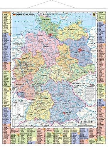 Deutschland politisch und Autokennzeichen - Wandkarte mit Metallbeleistung