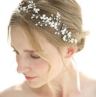 FXmimior - Fascia per capelli da sposa, con fiori e cristalli, stile vintage, accessorio per capelli per donne e sposa