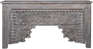 Consola oriental estrecha Gassan gris 170 cm | Mesa consola oriental vintage tallada a mano | Aparador rústico de madera m...