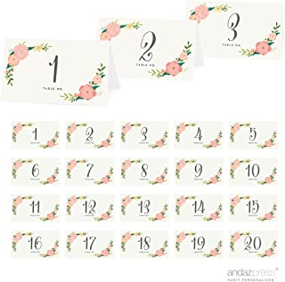 Andaz Press Table Tent Place Cards on Perforated Paper, Tea Party Floral Print, Table Number Collection, 20-Pack, Placecards Table Settings for use with Charger Plates and Place Card Holders, Catering, Food, Dessert Table Tent Cards