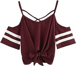 SweatyRocks Women's Knotted Cold Shoulder T Shirt Criss Cross Crop Tops