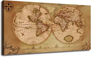 Canvas World Map Wall Art Vintage Nautical Picture Beige Painting Prints, One Panel Large Size Framed Old Artwork Posters Ready to Hang for Living Room Home Office Bedroom Study Room Mural Decor