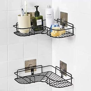 XENOTY Self-Adhesive Metal Bathroom Corner Rack Storage Shelves, Bathroom Storage Rack Corner, Bathroom Corner Shelf Organizer Storage, Bathroom Shelf/Shelves Corner - Black
