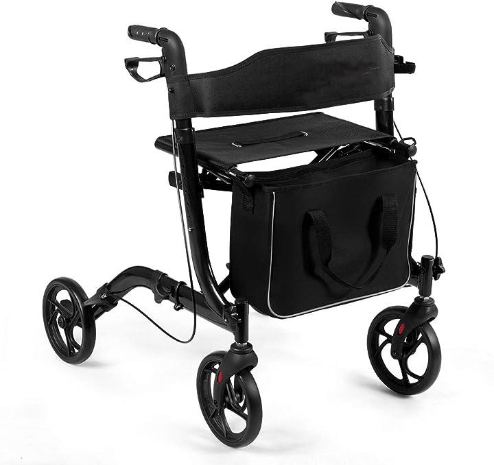 Deambulatore pieghevole per anziani ultraleggero con sedile borsa da spesa e 4 ruote freno a mano costway SP37070BKIT