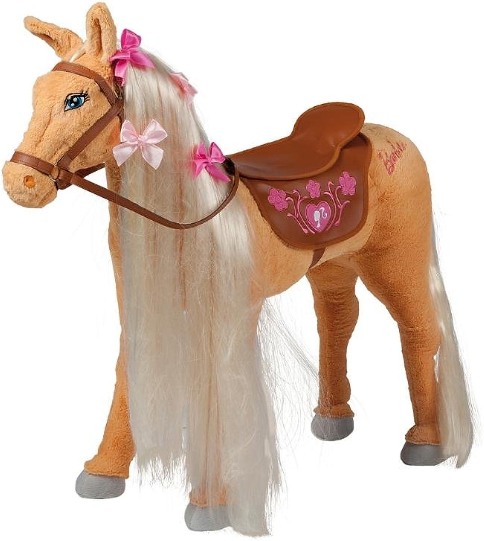 Mattel Barbie-Pferd Tawny, mit Sound, beige mit Heller Mhne inkl. Putzbox befüllt für Kinder, lila