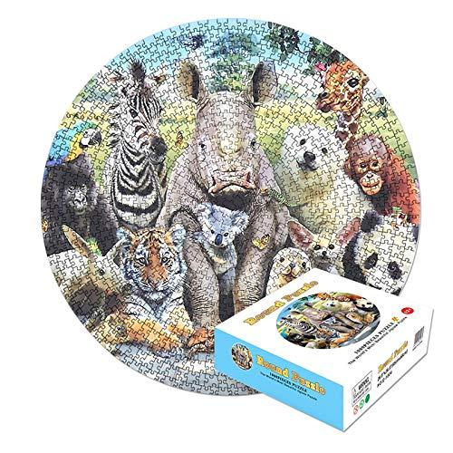 Puzzle 1000 Teile, Puzzle für Erwachsene und Kinder, Runde Puzzle, Geschicklichkeitsspiel für die ganze Familie, Erwachsenenpuzzle ab 12 Jahren(Tier)
