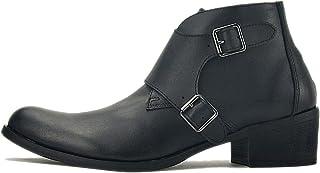 Huegu Bottes Chelsea en Cuir pour Homme Bottines Cowboy avec Boucle et Fermeture éclair Chaussures décontractées Automne e...