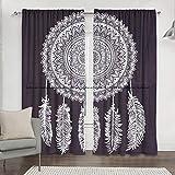 Sophia-Art Exclusiva cortina de mandala en blanco y negro con diseño de gato de ensueño, diseño hippie para colgar en la pared, puerta o ventana, 2 piezas, estilo tradicional hippie