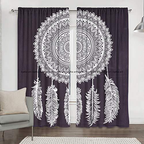 Sophia-Art - Cortina hippie para colgar en la pared, diseño de atrapasueños, color blanco y negro