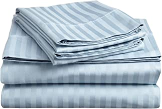 Superior 300 Thread Count 100% Premium Combed Cotton, 3-Piece Bed Sheet Set, Deep Pocket, Single Ply, Sateen Stripe, Twin XL - Light Blue