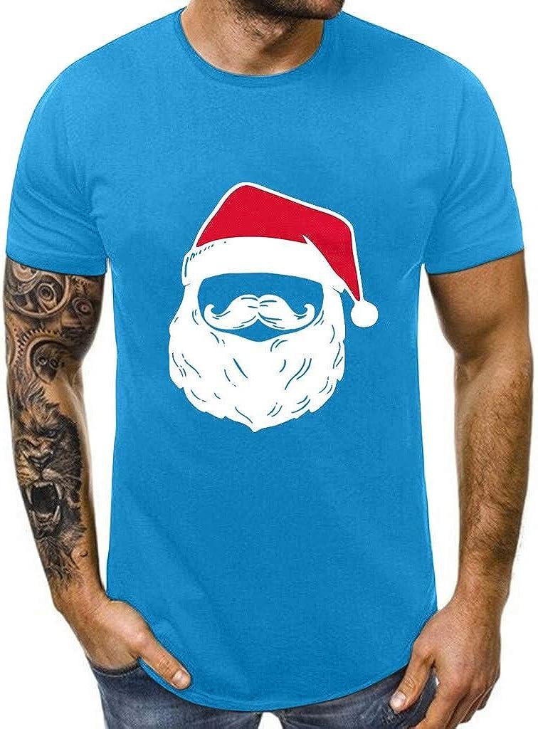 DEATU Family Men Women Tshirt Couples Santa Claus Print Short Sleeve Funny Tops Ugly Christmas Shirts