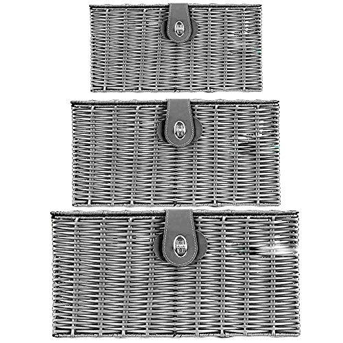 dytrading Set of 3 Wicker Storage Baskets With Lid Lock Resin Woven Basket Gift Hamper Box (Grey)