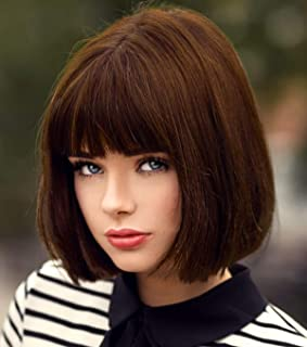 Short Brown Hair Wigs Bob Wig with Bangs for Women Straight Synthetic Wig 12 Inch Natural Looking As Real Hair BU027BR