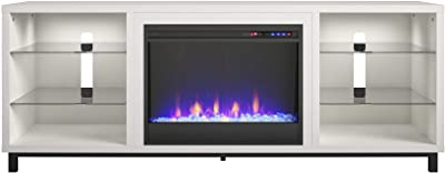 """CosmoLiving by Cosmopolitan Westchester Fireplace 65"""", White TV Stand"""