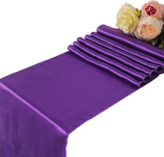 Purple Satin Table Runners Wedding Party - 5 pcs Banquet Event Decoration 12
