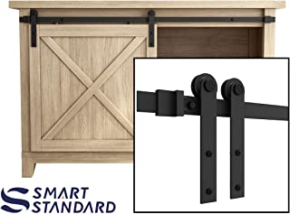 SMARTSTANDARD 4FT Super Mini Sliding Barn Door Hardware Track Kit -Smoothly and Quietly -for Cabinet, TV Stand, Closet, Window -Fit 24