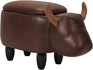 Zoternen Multi-Functional PU Leather Animal Shape Ottoman Foot Rest Stool with Upholstered Ride-on Storage Footstools, 26.4 12.6 14.2in