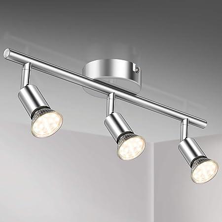 Plafonnier LED 3 Spots Orientables,3X 3.5W Ampoule GU10,380lm, blanc chaud, blanc chrome,pots plafond orientables, éclairage intérieur plafond LED cuisine chambre salon, 230V