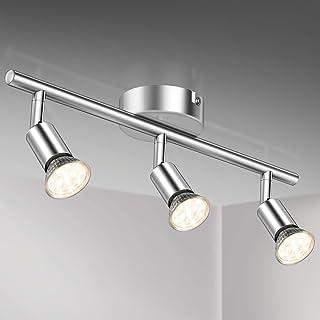 Defurhome Lámpara de techo con 3 focos LED GU10, focos ajustables y giratorios para interiores, de luz blanca cálida, 3.5W, 380 lúmenes, 2900K, Cromo Blanco, No Regulable