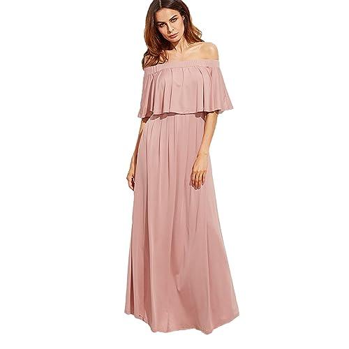 b3f4715914 Milumia Women's Off The Shoulder Layered Ruffle Party Maxi Dress