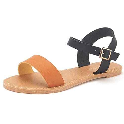 853ec7723 DREAM PAIRS Women s Cute Open Toes One Band Ankle Strap Flexible Summer  Flat Sandals New