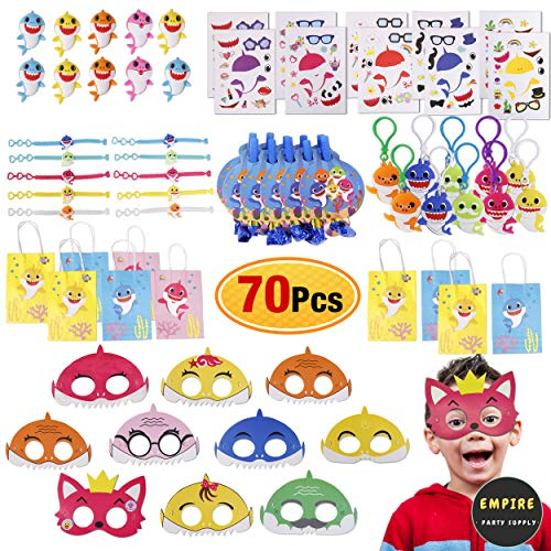 Baby Shark Party Favors Kit for Kids - 70 Pack Shark Themed party favors set Include Baby Shark Goodie Bags, Bracelets, Key Chains, Blower Whistles, Erasers, Baby Shark Stickers and Felt Mask for Boys Girls