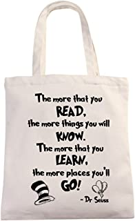 Dr Seuss Inspirational Motivational Quotes Natural Cotton Canvas 12 Oz Reusable Tote Bag | Library Tote for Kids | School Reading Bag for Student Friends