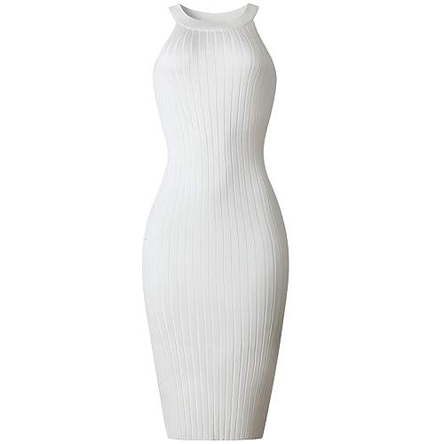 1e0532fdbedb7 Queen Diana Women s Summer Sleeveless Halter Slit Knit Dress Pencil Dress  Mini Bodycon