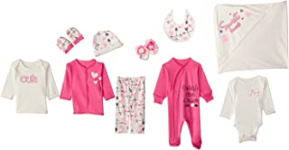 Jockey Printed Clothing Set for Girls - Pink and White, 10 Pieces, 3-6 Months